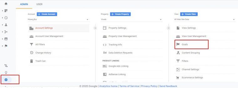 Tạo goal trên Google Analytics