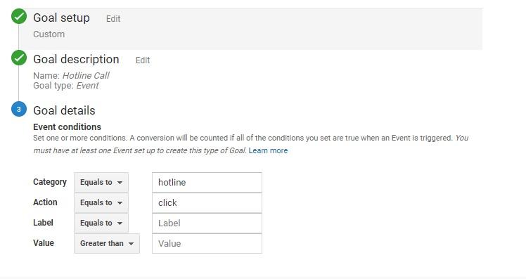 Thông số goal trên GA giống phần cấu hình trong Google Tag Manager