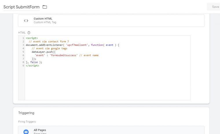 Chèn script trên Google Tag Manager